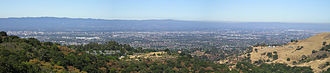 Santa Clara Valley - Looking west, across the valley, from Alum Rock Park over northern San Jose (downtown is at far left) and other parts of the valley. The valley runs north to south in the picture.