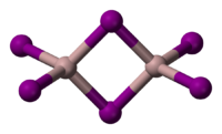Ball and stick model of aluminium iodide dimer