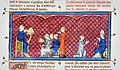 Amalric of Bena hears his sentence, Amalric and Innocent III, Chroniques de France.jpg