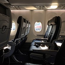 main cabin on an a319 top and a 737 max bottom