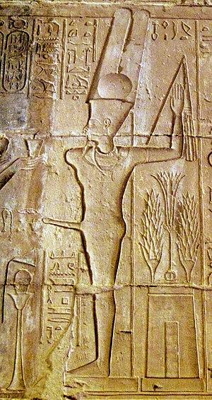 Amun - Amun-Min as Amun-Ra ka-Mut-ef from the temple at Deir el Medina.