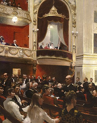 Paul Gustav Fischer - An Evening at the Royal Theatre. Dated 1887-88