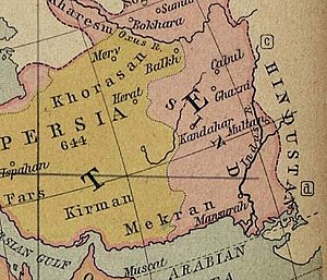 Kabul - Map showing names of the regions during the 7th century.