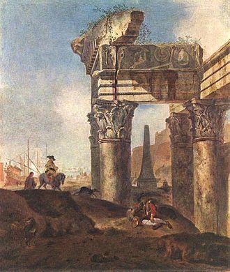 Jan Baptist Weenix - Ancient Ruins by Jan Baptist Weenix
