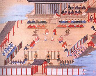 Sport in Japan - Painting of an ancient Sumo competition, Heian or Kamakura period