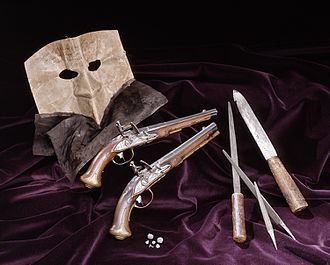 1792 in Sweden - Anckaströms mask, knife and pistol
