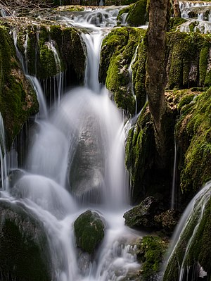 Long exposure shot at the Toberia Cascades. Andoin, Álava, Basque Country, Spain