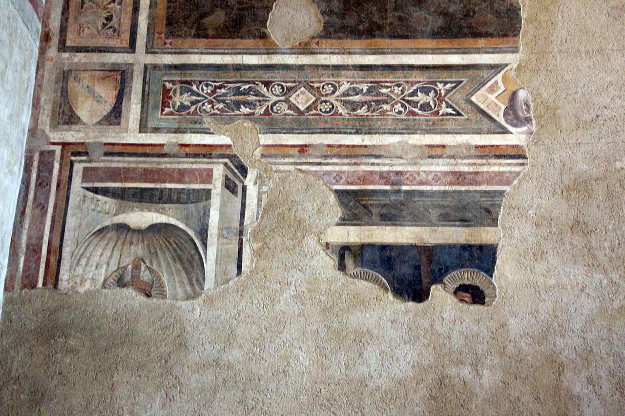 Andrea Orcagna, Cenacolo, particolare due apostoli (san Tommaso, con un eloquente gesto di dubbio, e un altro, Santo Spirito (Fondazione Salvatore Romano), 1360-65 ca.