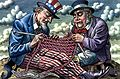 Anglo-American research on the human genome represented by Uncle Sam and John Bull knitting DNA. Wellcome L0020443.jpg