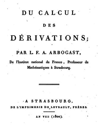 Louis François Antoine Arbogast - Frontpage of Arbogast's book Du calcul des derivations (1800)