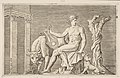 Apollo tending the flocks of Admetus, Apollo seated holding a lyre and flanked by a cow and a dog, a serpent winding around a dead tree at right MET DP818655.jpg