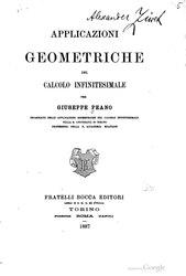 Giuseppe Peano: Aplicaciones geométricas del cálculo infinitesimal