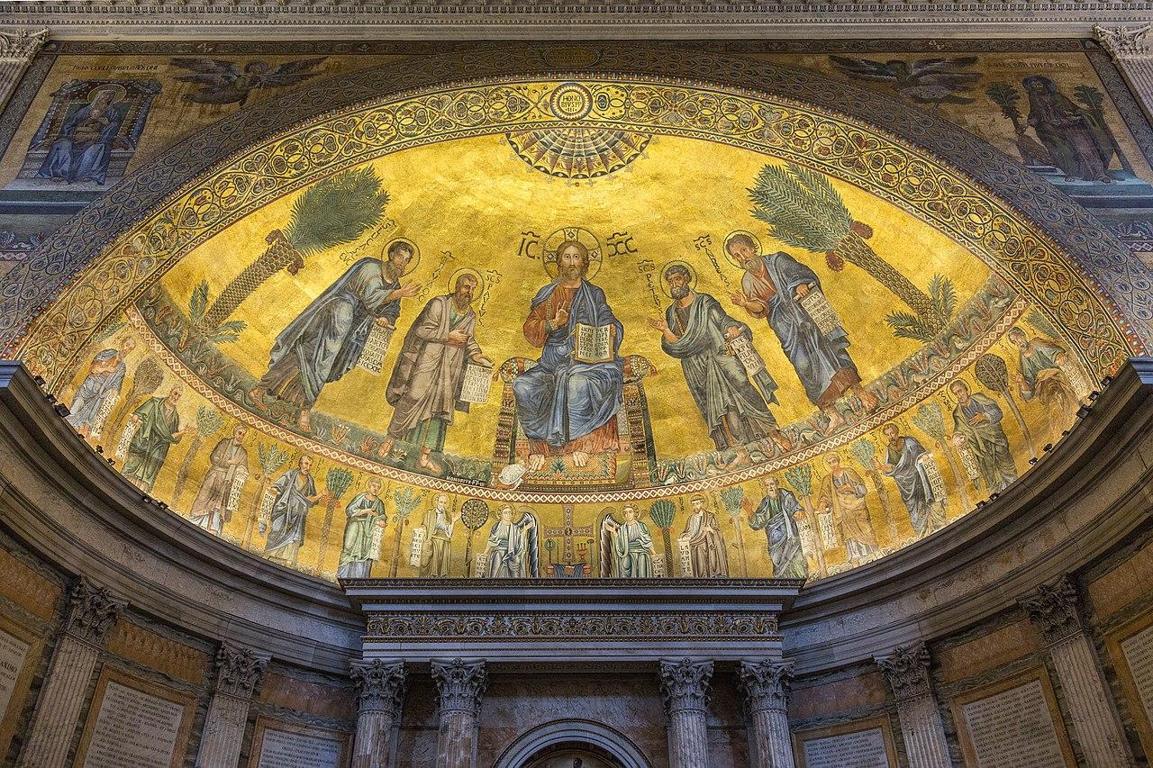 Saint Paul Outside the Walls, The apse mosaic dans immagini sacre 1280px-Apsis-Mosaik_von_San_Paolo_furi_le_mura%2C_Rom