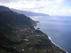 The village of Arco de São Jorge in an amphitheatre-shapped valley along the northern coast of Santana municipality