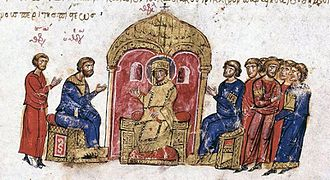 Byzantine Iconoclasm - Argument about icons before the emperor, in the Skylitzis Chronicle