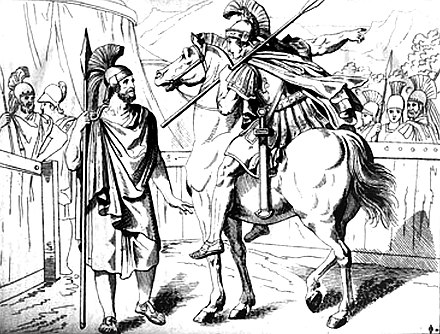 Aristides, commander of the Athenians, informed by Alexander I of Macedon (a nominal ally of the Achaemenids) that delaying the encounter with the Persians would help further diminish their already low supplies. Battle of Plataea, 479 BC. Aristides and Alexander 479 BCE.jpg