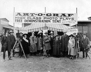 Art-O-Graf - The Art-O-Graf Film Company advertising Miss Arizona.  (Left to right: H. Haller Murphy, Man, Man, Woman, David Townsend, Gretchen Wood, Dog, M. Jay Casey, Man, Vida Johnson, Man, Woman, Vernon L. Walker, Otis B. Thayer)