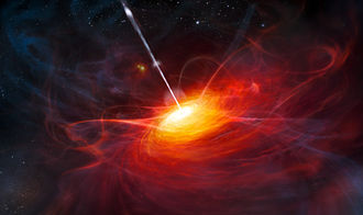Quasar - Artist's rendering of the accretion disk in ULAS J1120+0641, a very distant quasar powered by a black hole with a mass two billion times that of the Sun.