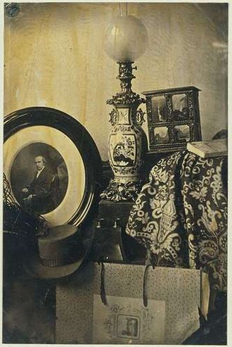 Eduard Isaac Asser - Still-life with self-portrait and his patented photolithography transfer paper, 1855