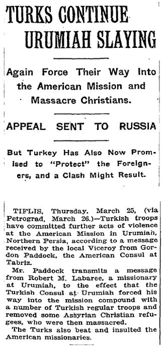 Assyrian genocide - An article from The New York Times, March 27, 1915.