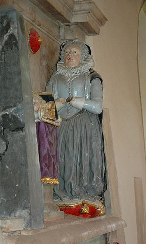 Aston Rowant - SS Peter and Paul parish church: detail of monument to Lady Cecil Hobbee, (died 1618), wife of Sir Edward Hobbee of Bisham, Berkshire
