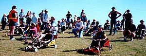 Gravity racer - Billy carts constructed by Cub Scouts and their fathers and carers at The Rooty Hill, NSW Australia