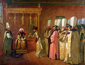 Osman III - Audience of French ambassador Charles de Vergennes with Sultan Osman III in 1755.