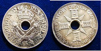 New Guinean pound - Image: Australian New Guinea 1936 Silver Shilling