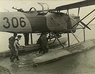 Serbian Air Force and Air Defence - Western Desert, North Africa. 19 February 1942. Armament personnel loading one of the seaplanes of a Royal Yugoslav Air Force unit operating in the Middle East.