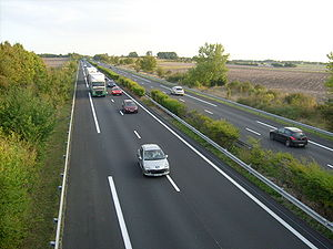 Saintes, Charente-Maritime - The autoroute A10 leaving Saintes towards Bordeaux