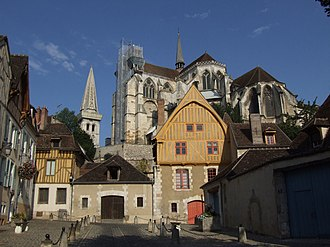Auxerre - A view of Auxerre's old town with Saint-Germain Abbey in the background.