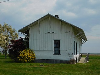 Avon, Illinois - The former Chicago, Burlington and Quincy Railroad station in Avon, now located in Avon Town Park.