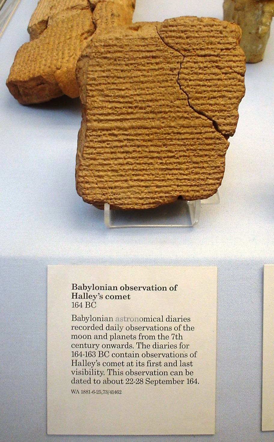Babylonian tablet recording Halley's comet