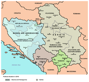 Republika Srpska–Serbia relations - Central region of former Yugoslavia, Republika Srpska shown in pink