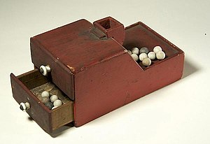 Blackballing - One of the earliest American ballot boxes using ballottas. This ballot box was used by members of the Association of the Oldest Inhabitants of the District of Columbia, a social club.