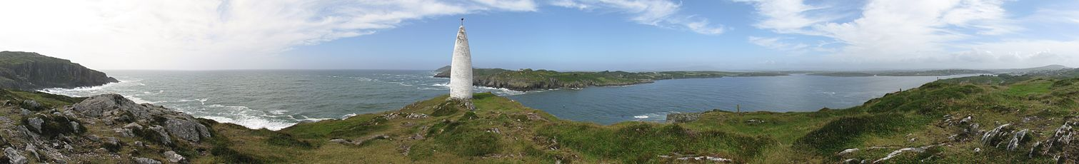 View of Baltimore Beacon near Baltimore, Co. Cork, Ireland.