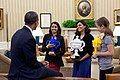 Barack Obama congratulates Google Science Fair winners, from left, Naomi Shah, Shree Bose, and Lauren Hodge, 2011.jpg