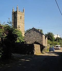 Barn and church, Mary Tavy (geograph 4302987).jpg
