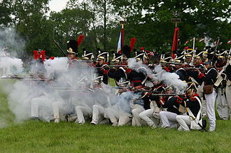 Battle of Radzymin (1809) - Re-enactors in uniforms of Polish 1809 infantry