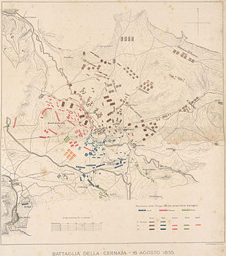 Battle of the Chernaya - Battle of the Chernaya, the forces at the beginning of the battle and the Russian advance.