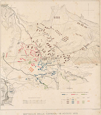 Battle of the Chernaya, the forces at the beginning of the battle and the Russian advance Battle of the Chernaya.jpg