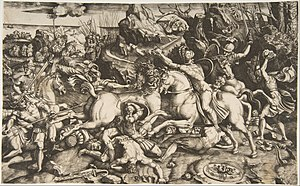 Marco Dente - Battle scene in a landscape with soldiers on horseback, c. 1520, engraving