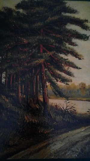Paintings by Adolf Hitler - Tree at a track by Adolf Hitler from 1911