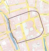 Begrenzingskaart castellum Traiectum Utrecht Domplein.jpg