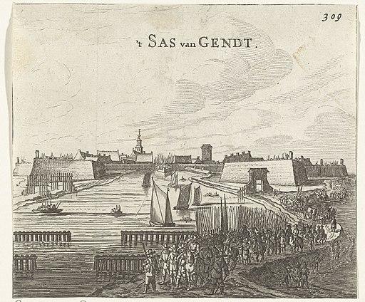 Beleg van Sas-van-Gent door Frederik Hendrik, 1644 't Sas van Gendt (titel op object), RP-P-OB-81.124
