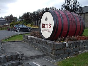 Bell's whisky - Bell's Scotch Whisky barrel at the Blair Athol Distillery in Pitlochry.