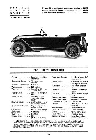 Ben Hur (automobile) - The Ben Hur Touring Car from McClure's Automobile Yearbook 1917-18.