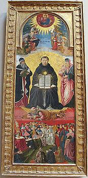 Benozzo gozzoli, trionfo di san tommaso d'aquino, da duomo di pisa, 1470-75 ca. 01.JPG