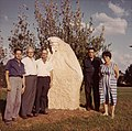 Ber Borochov statue at Kibbutz Mishmar Hanegev with Harry and David Borochov.jpg