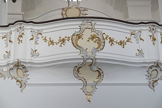 Ornament (art) - 18th-century Rococo balcony, Bavaria. The form is itself ornamental, and further decorated in painted plasterwork.